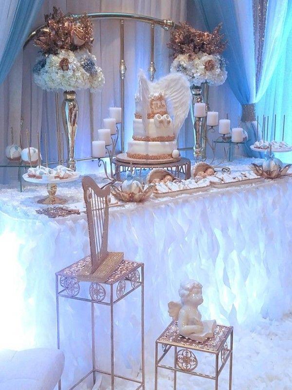 Baby Boy Angel Shower Dessert Buffet Baby Shower Ideas Angel
