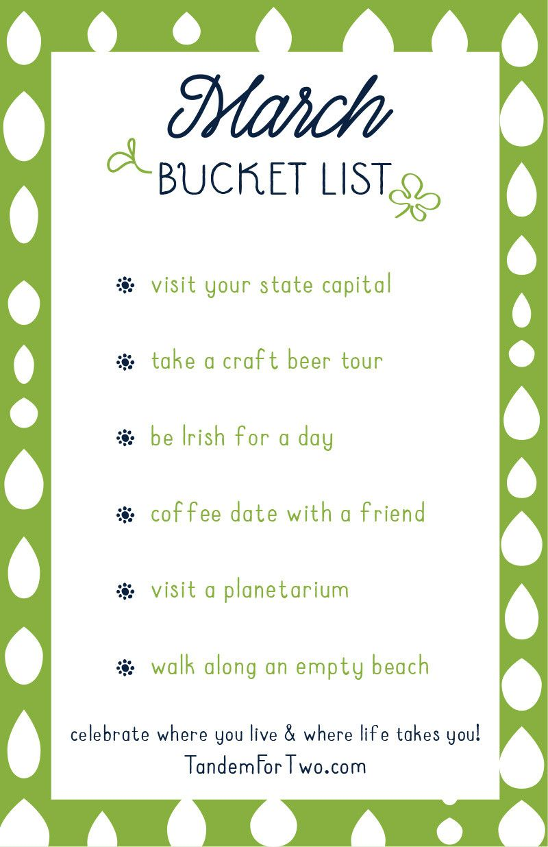 March Bucket List from is part of Bucket List Ideas For March  Things To Do In Springtime - What's on your bucket list this month  Why not check off a couple of fun items from our printable list  Use it to celebrate where you live and where life takes you! Check out our Pinterest board  Add to your bucket list  as well for more ideas and inspiration for the month!