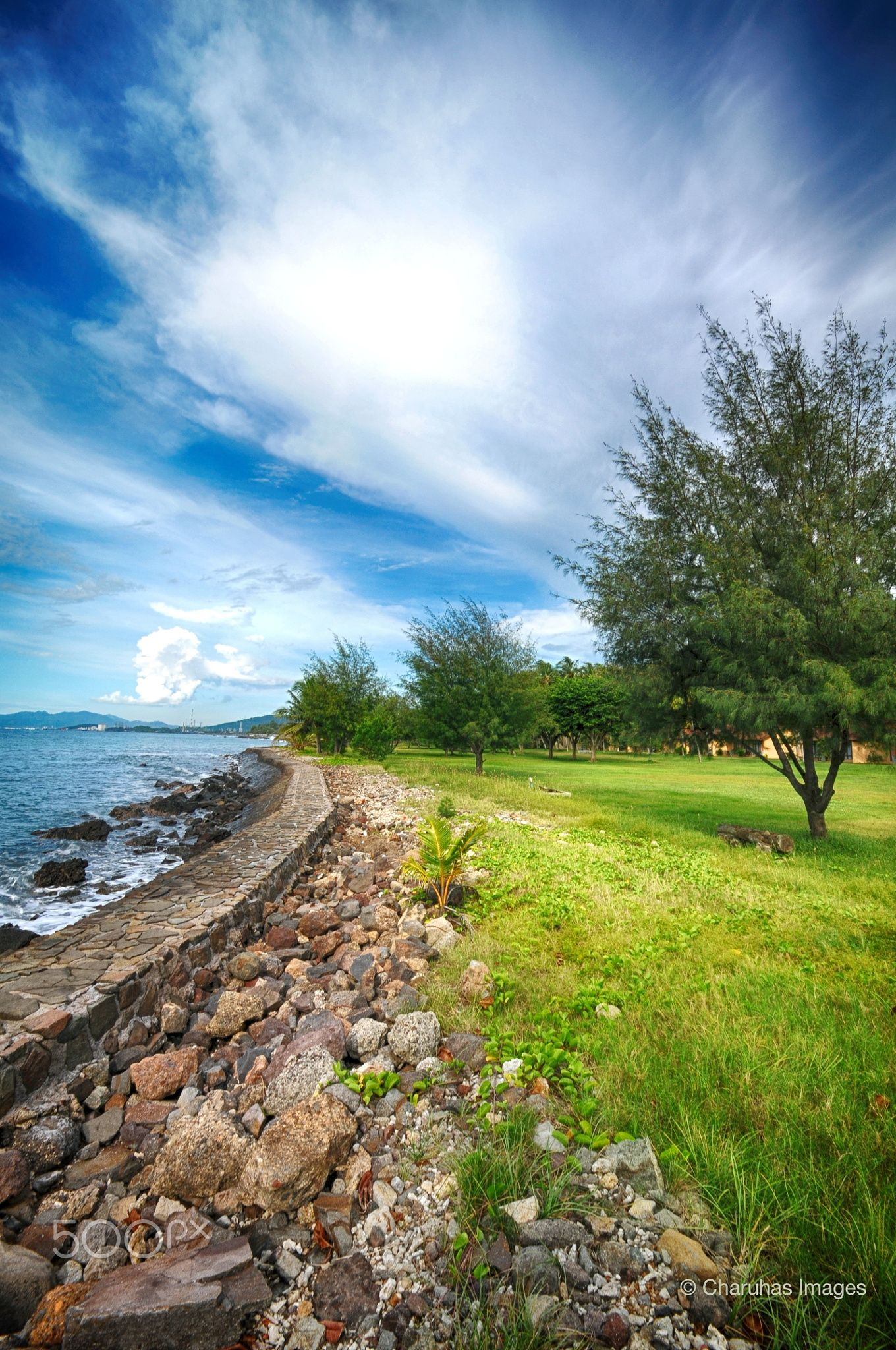 Near The Shore Sky Clouds Grass Waves Rocks Lawn Tree Sky And Clouds Beautiful Nature Nature