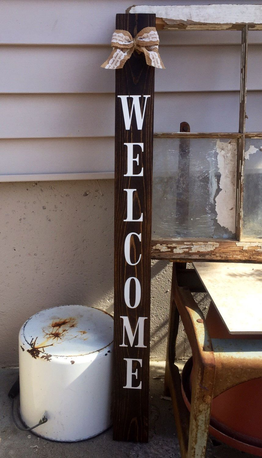 Welcome Sign Leaning Porch Sign Rustic Home Decor Painted Wooden Sign Stained Welcome Sign Small Welcome Sign Rustic Porch Sign Front Porch Signs Painted Wooden Signs Porch Signs