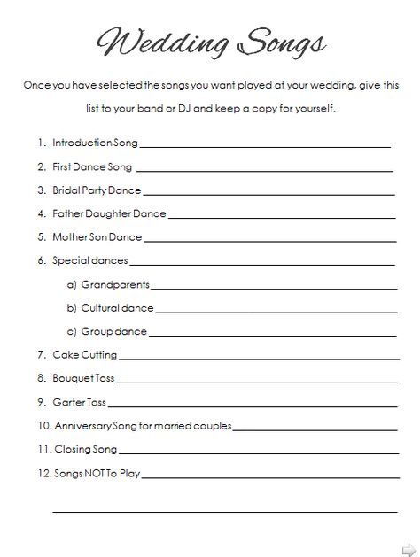 How to plan your wedding reception music printable list wedding how to plan your wedding reception music printable list solutioingenieria Image collections
