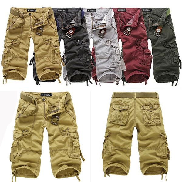Long Cargo Shorts for Men | New Men's Cotton Hobo Fit Cargo Shorts ...