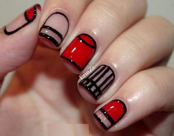 Red and Black Striped Nail Design. - 45+ Stylish Red And Black Nail Designs Nail Art Community Pins