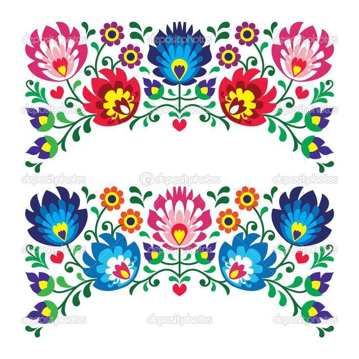Polnische folklore stickerei floral muster für karte