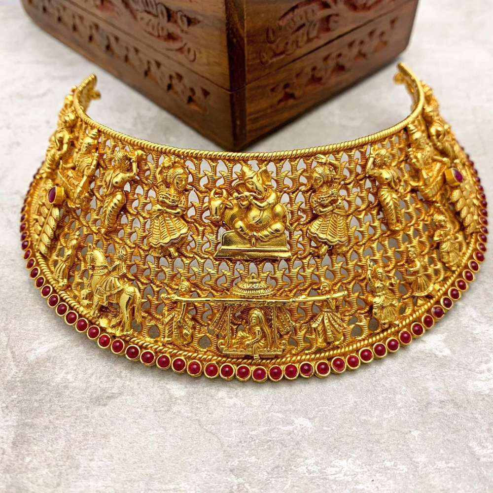 Gold Plated Silver Broad Choker South India Jewels Bridal Gold Jewellery Designs Choker Necklace Designs Bridal Gold Jewellery