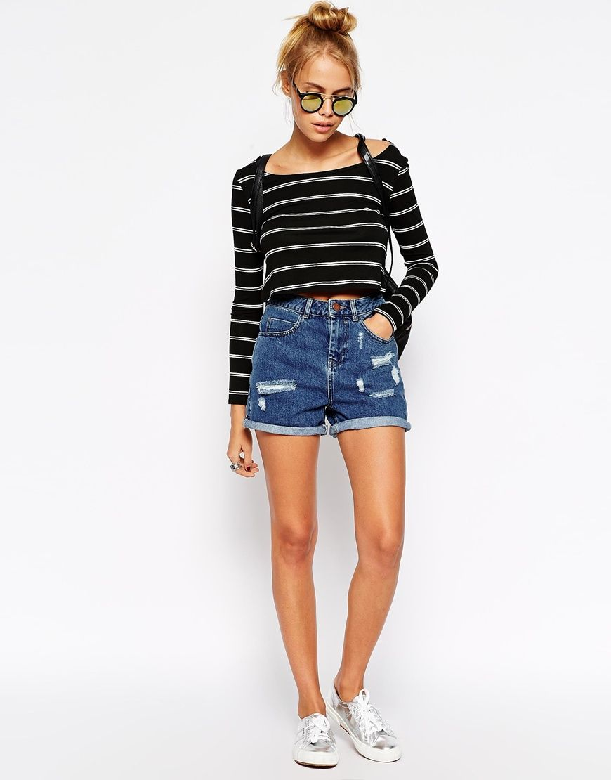 Image 1 of ASOS High Waist Denim Mom Shorts in Mid Wash with Rips ...