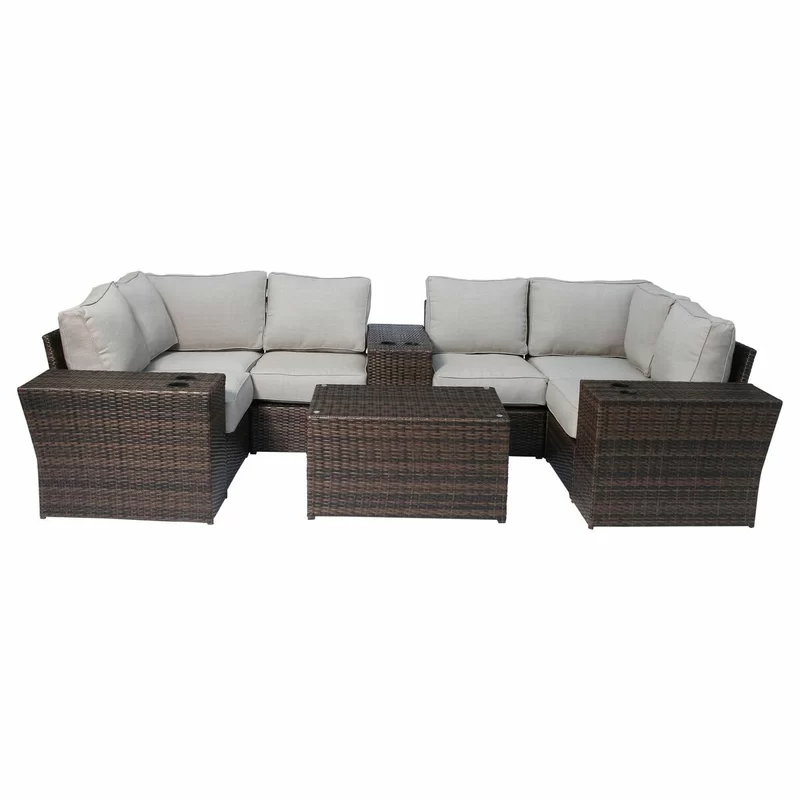 Rosecliff Heights Winsford 10 Piece Sectional Seating Group With Cushions Wayfair In 2020 Outdoor Sofa Sets Contemporary Outdoor Sofas Sofa Set
