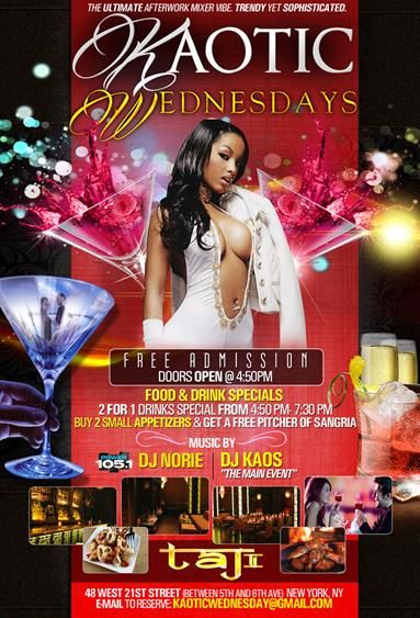Kaotic Wednesdays Afterwork @ Taj II Every Wednesday « Bomb Parties – Club Events and Parties – NYC Nightlife Promotions