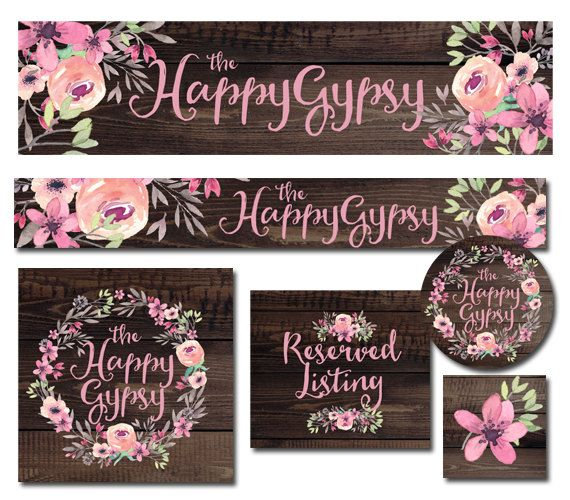 Premade Etsy Banner And Avatar Set For Small Crafty Boutiques Shops Rustic Wood Floral