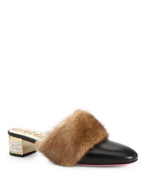 Gucci Leather Slide With Mink Fur In