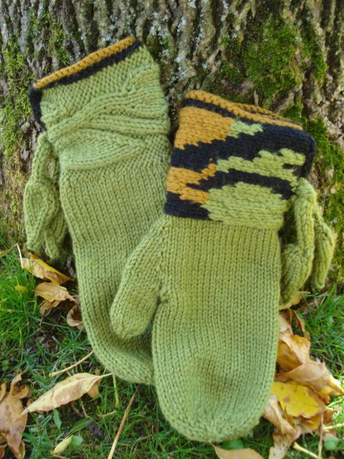 Woodland Leaves mittens with choice of cuff | Fiona Ellis Knitwear ...