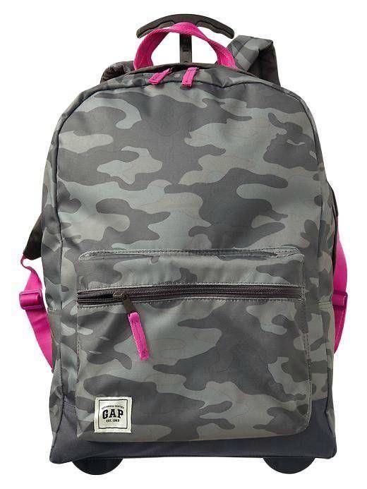 86f39d397704 Gap Kids NWT Camo Print Rolling Roller Backpack School Bag NEW  GapKids