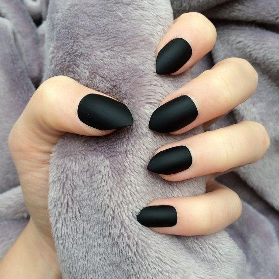 Doobys short Stiletto Nails - Matte Black - 24 Claw Point False ...