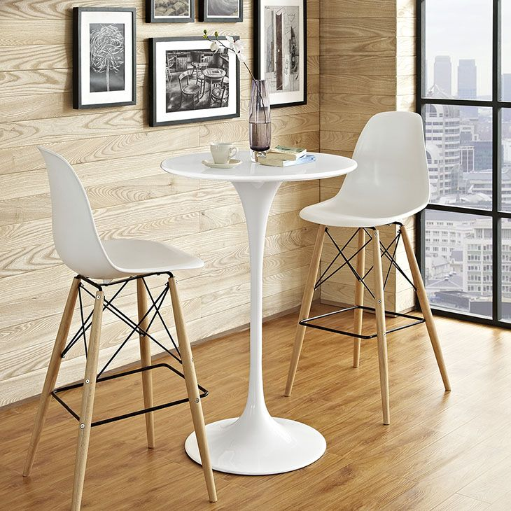 Lippa Wood Bar Table In White