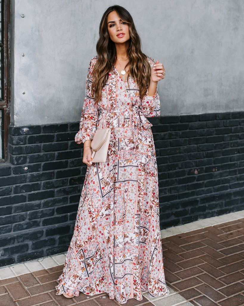 Choose wisely long sleeve printed maxi dress final sale