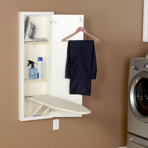 In Wall White Ironing Board At Menards Wall Ironing Board Wall Mounted Ironing Board Laundry Room Storage