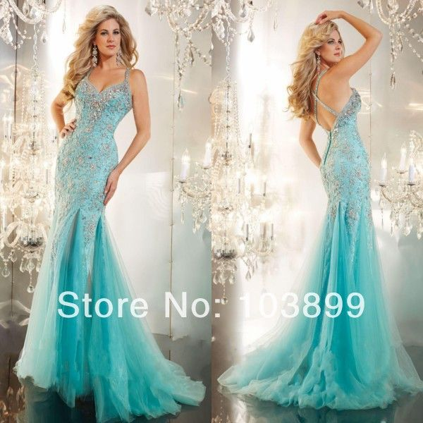 Turquoise Mermaid Prom Dress   ... Turquoise Blue Tulle Lace with ...