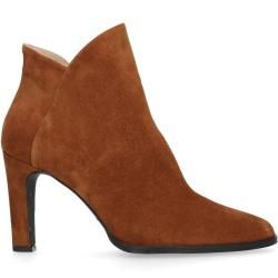 Photo of Cognac-colored suede heel ankle boots (36,37,38,39,40,41,42) Manfield