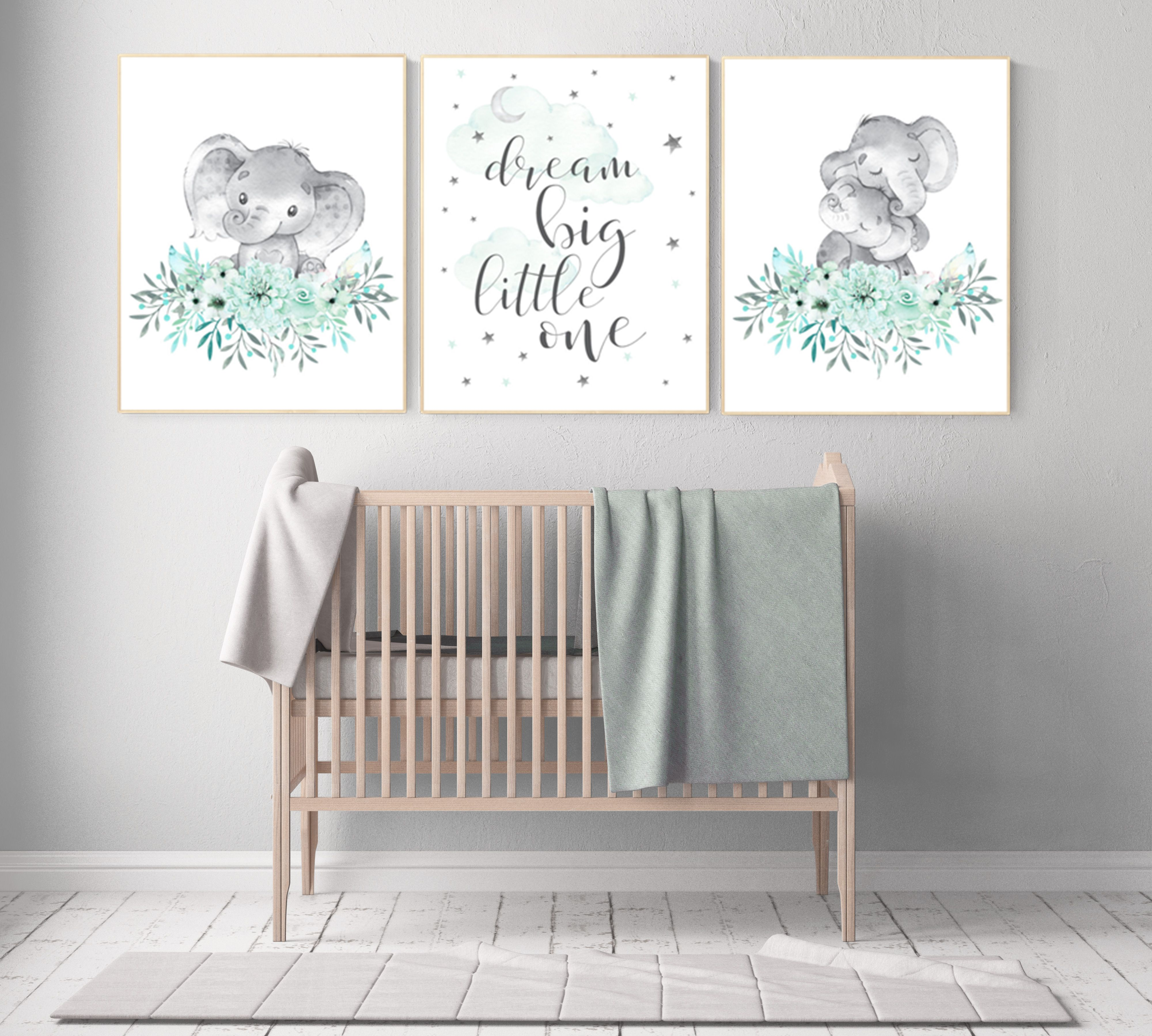 nursery pictures gender neutral Elephant themed baby room gold lavender baby room pictures mint green Mint purple gold nursery