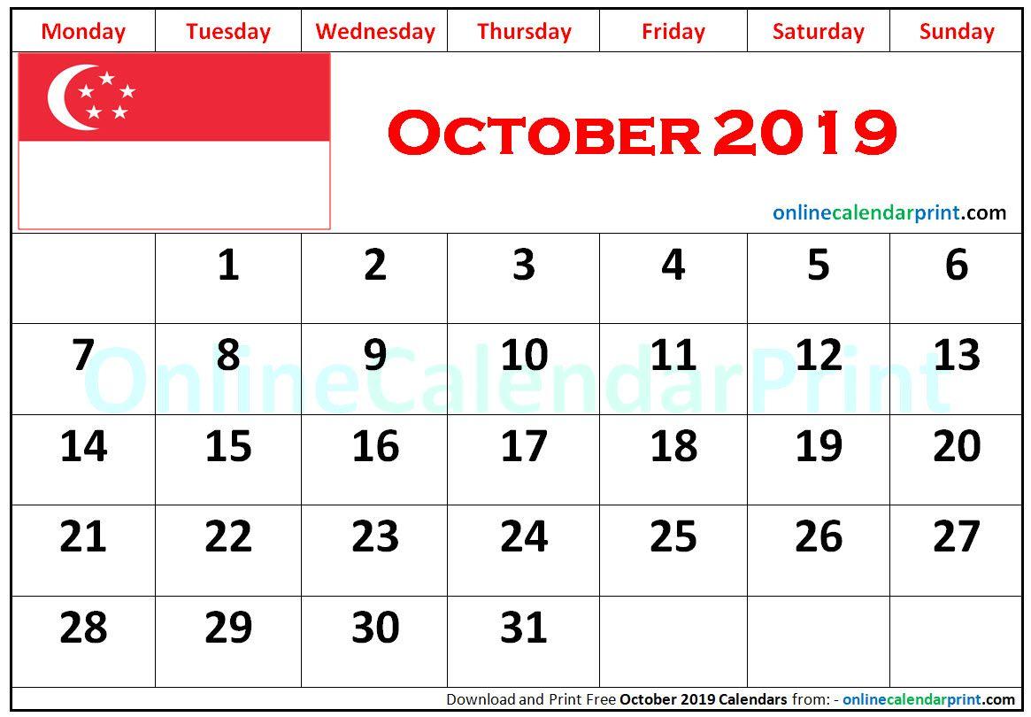 October 2019 Calendar Singapore With Images 2019 Calendar