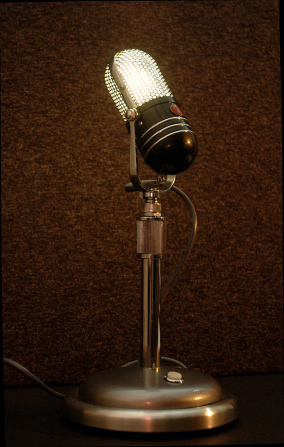 Upcycled Retro Microphone Table Lamp Desk Lamp Vintage