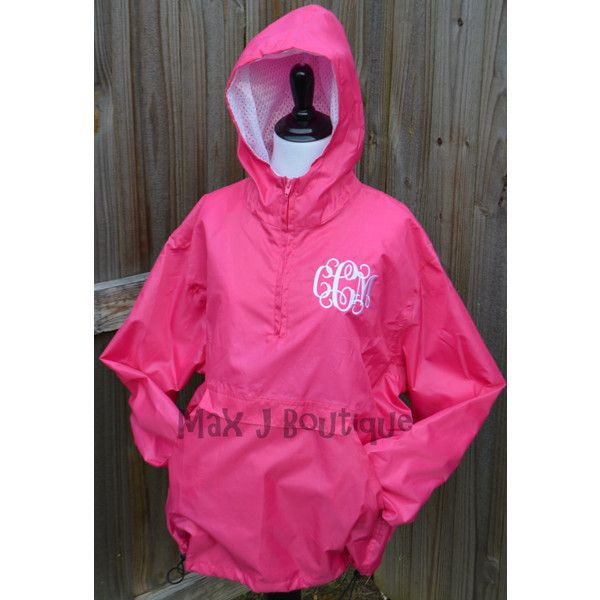 Monogrammed Pullover Rain Coat Personalized Rain Jacket Half-Zip ...