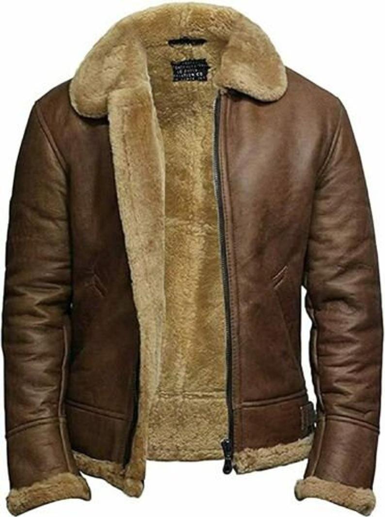 Mens Aviator Pilot Raf B3 Winter Fur Coat Real Sheepskin Brown Leather Bomber Jacket In 2021 Mens Leather Bomber Jacket Leather Jacket Men Leather Bomber [ 1067 x 794 Pixel ]