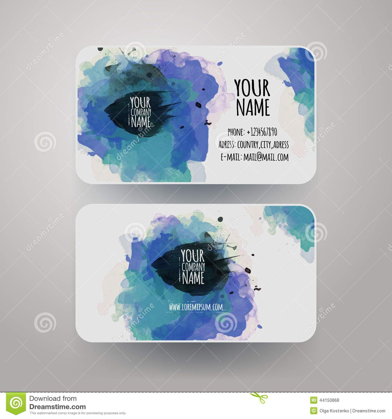 Vector template watercolor business cards download from over 35 vector template watercolor business cards download from over 35 million high quality stock photos alramifo Images