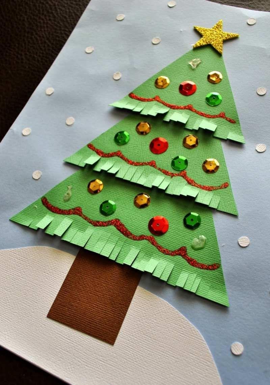 Kinder bastelidee ein papier tannenbaum mit fransen yeniyıl