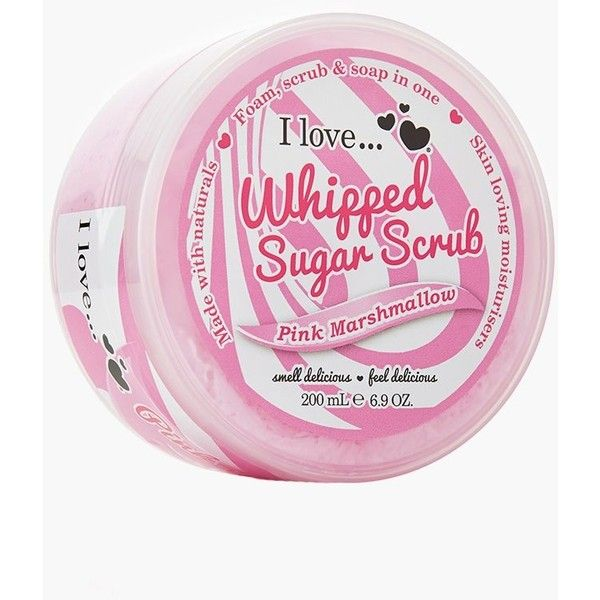 I Love Whipped Sugar Scrub Pink Marshmallow ($6.49) ❤ liked on Polyvore featuring beauty products, bath & body products, body cleansers and pink