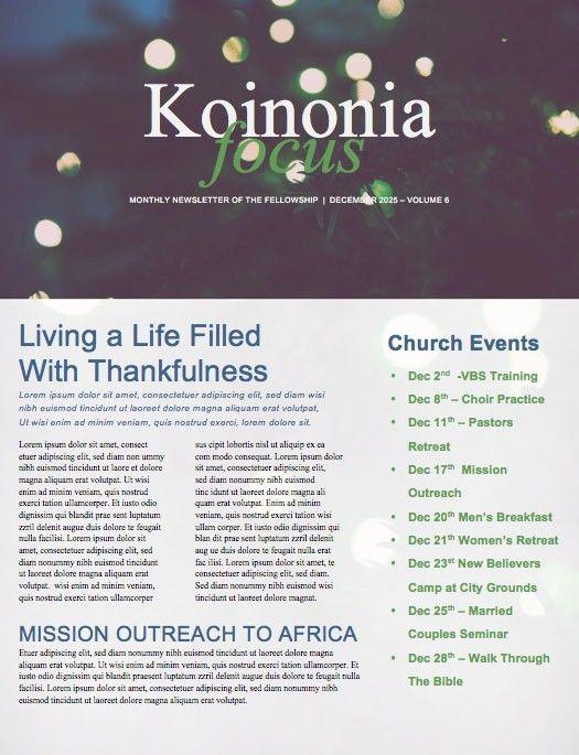 Christmas Tree Lights Church Newsletter Design Pinterest
