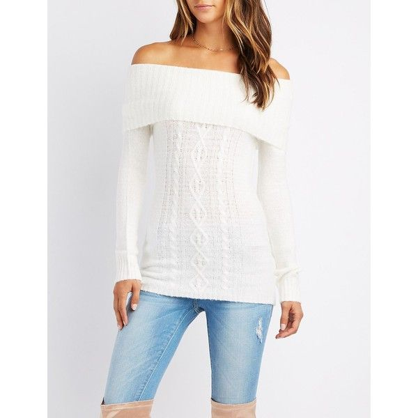 Charlotte Russe Cable Knit Off-The-Shoulder Sweater ($27) ❤ liked ...