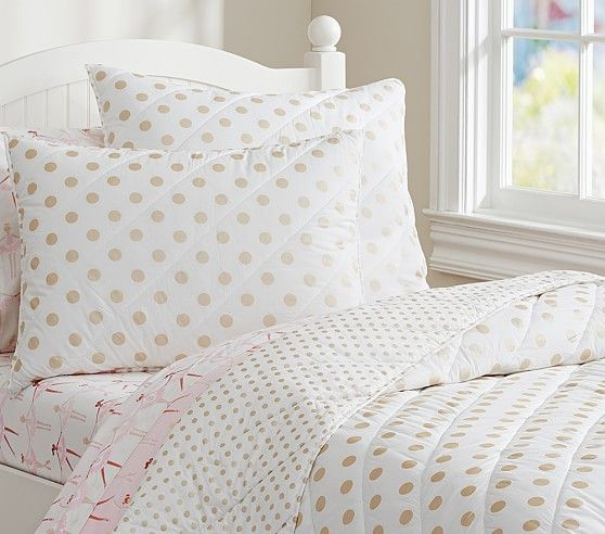 Gold Foil Polka Dot Quilt Pb Kids Love This For Miss A