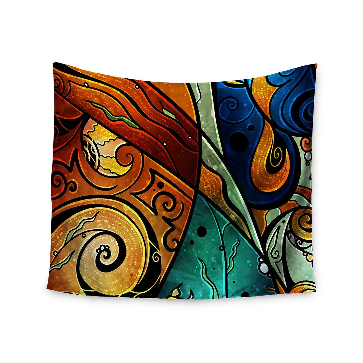 51 x 60 Kess InHouse Mandie Manzano Sea Dance Blue Orange Wall Tapestry