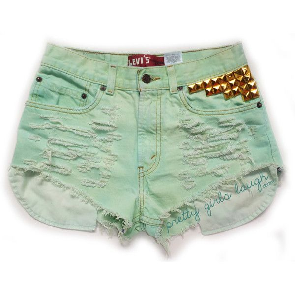Gold Studded Mint Green Levi Denim Shorts (Medium) (210 BRL ...