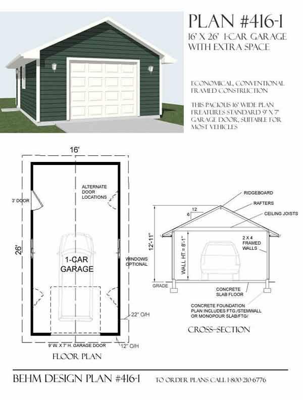 1 Car Garage Plan - 416-1 by Behm Design Garage Plans By Behm - new blueprint for 3 car garage