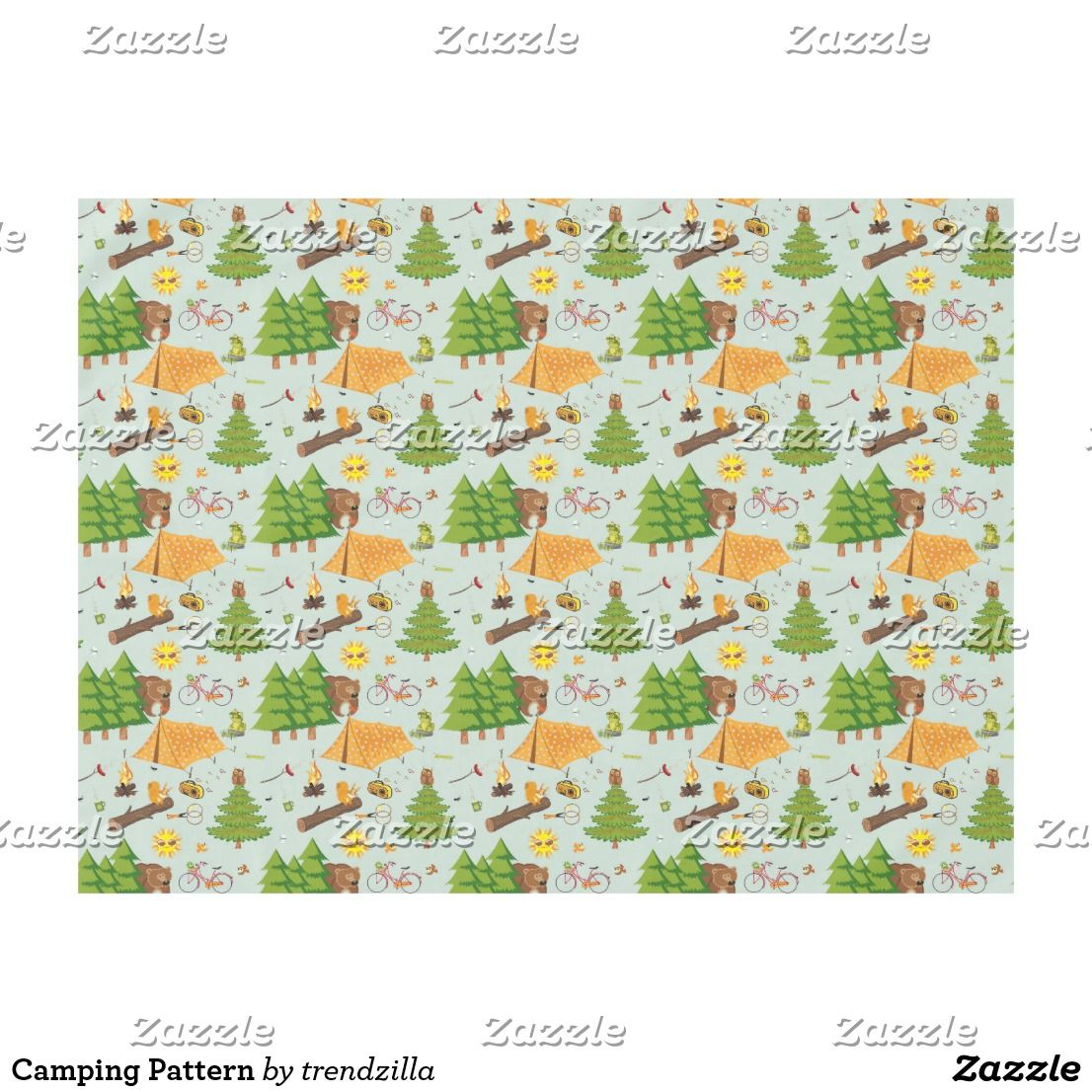 Camping Pattern Tablecloth