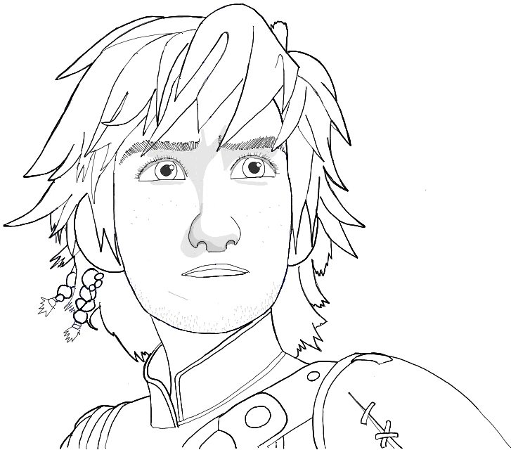 Black and White Line Drawing of Hiccup from How to Train Your