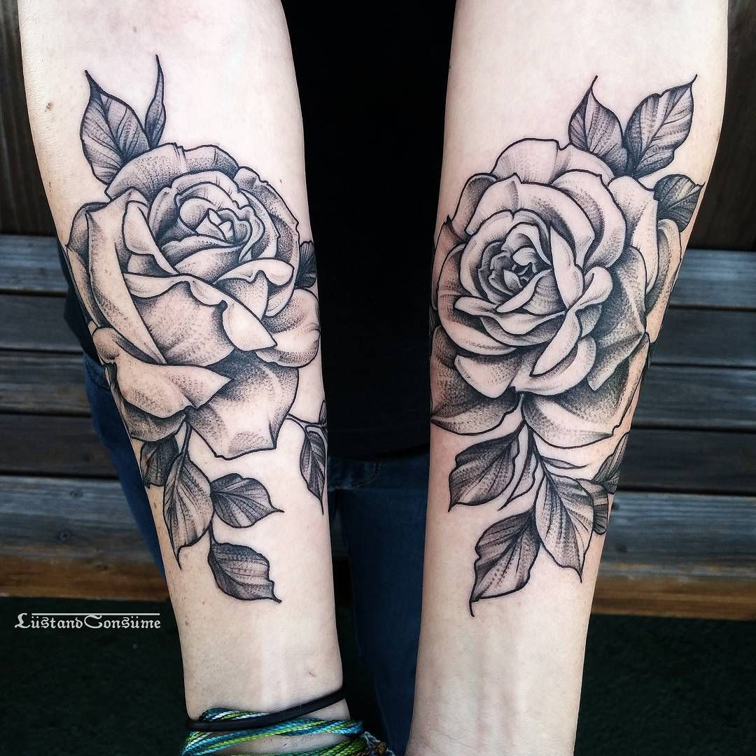 Fineline roses tattoos on arms by lustandconsume