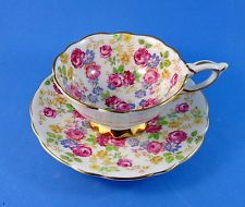 Pretty Chintz Royal Stafford June Roses Tea Cup and Saucer Set