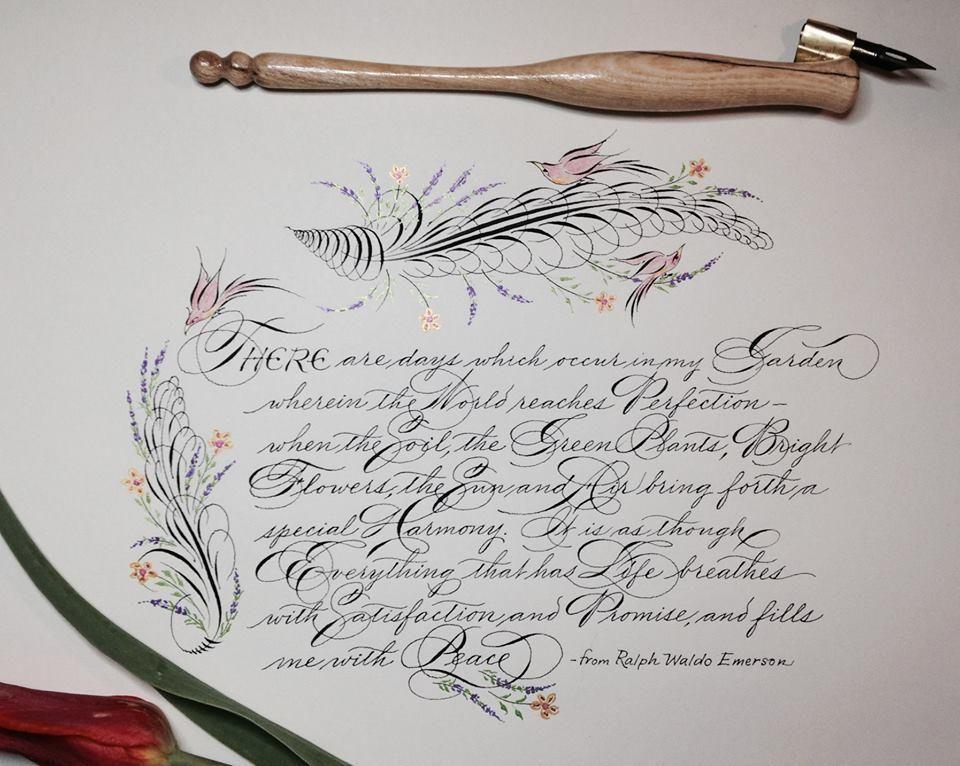 GARNET Ergonomic Oblique pen holder  Christmas calligraphy  Pointed Pen Script Spencerian Copperplate Penmanship