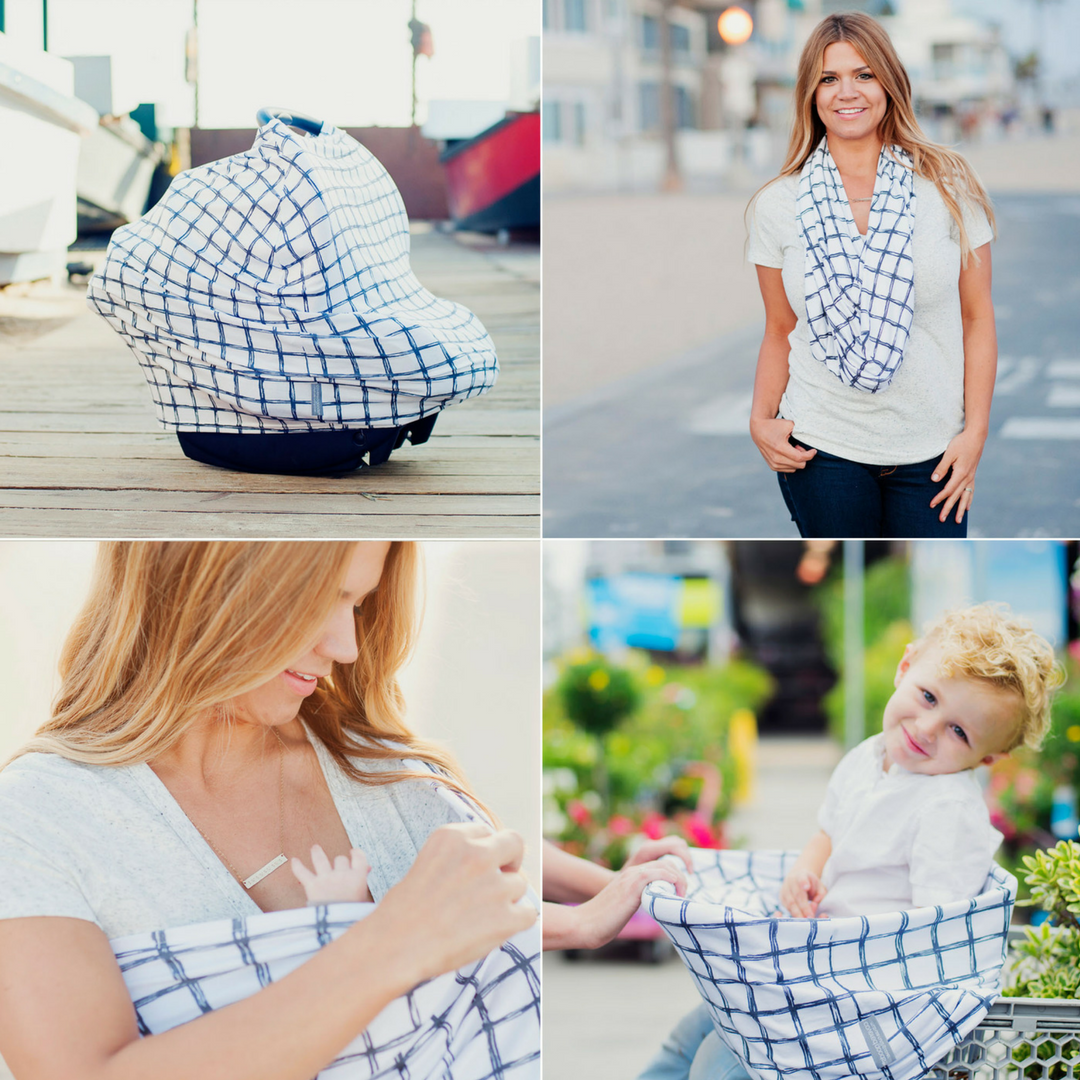 Four-in-One Nursing + Car Seat Cover - Grid | Seat covers, Car ...