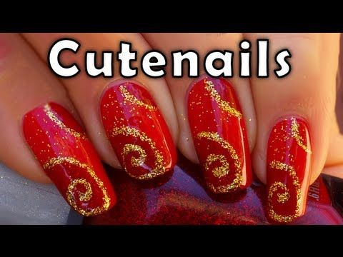 Nail art for Christmas : Red and Gold design...pretty