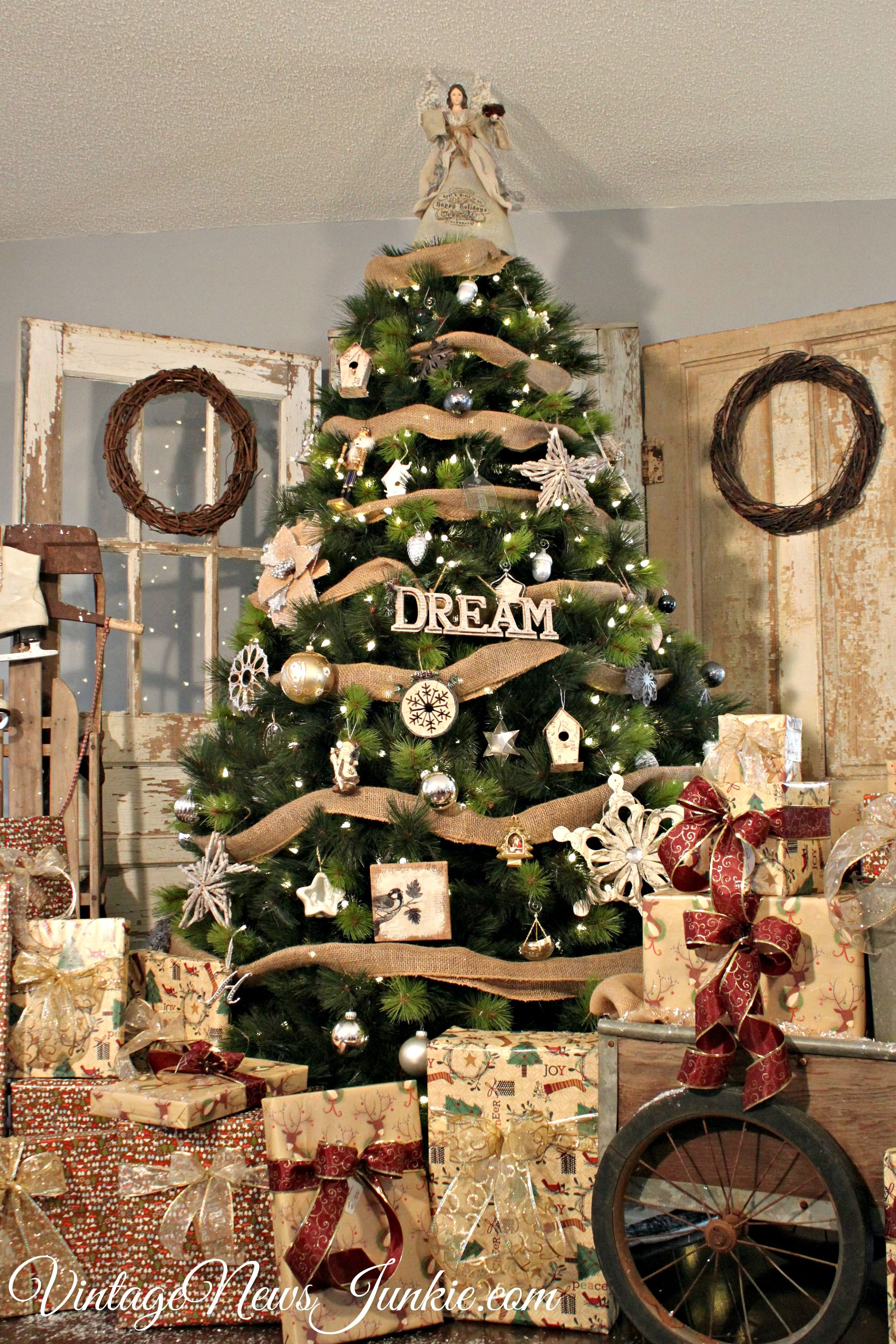 Vintage Rustic Christmas Tree With Old Doors #ChristmasTree #Holiday  #OldDoors By Vintage News Junkie. Www.vintagenewsjunkie.com