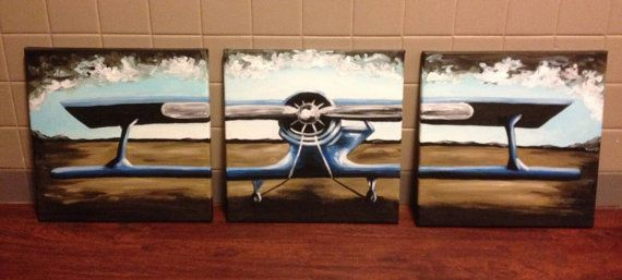 3 Piece Airplane Painting 3 Sizes To Choose From Airplane Painting Painting Airplane Nursery