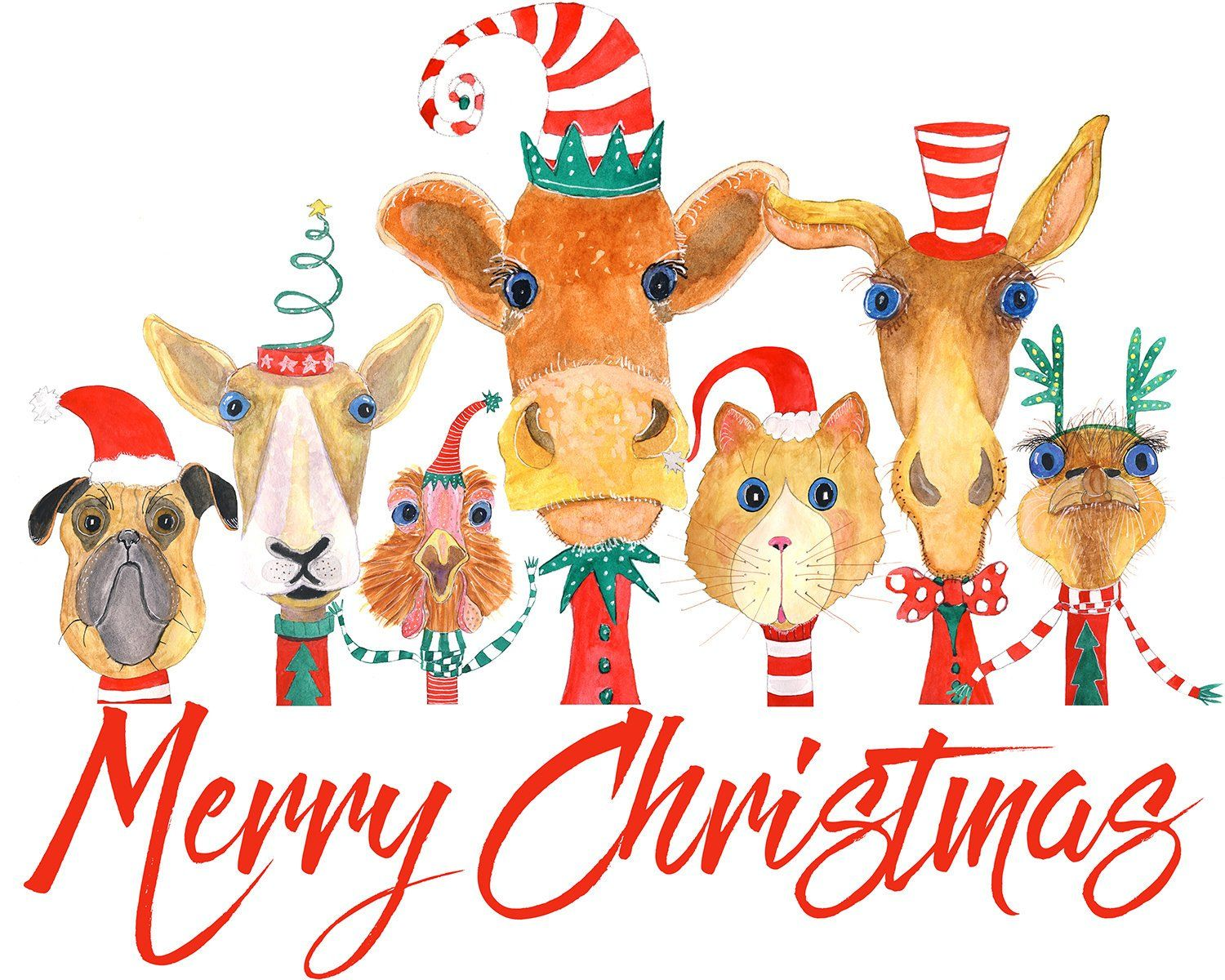 Merry Christmas Animals.Illustrated Merry Christmas Animal Card Whimsical Animals In Santa