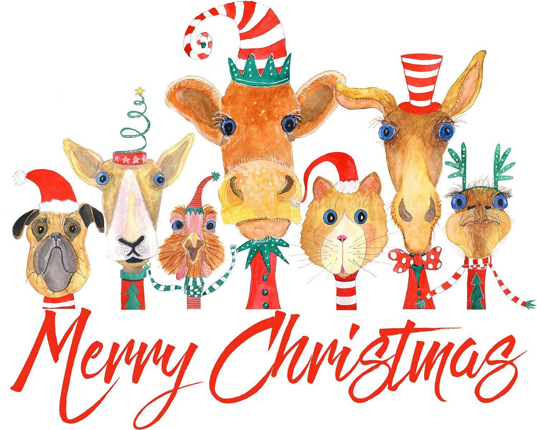 Merry Christmas Illustrated animal card, whimsical animals