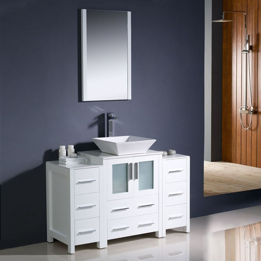 Fresca Torino White Vessel Single Sink Bathroom Vanity With Ceramic Top Common 48
