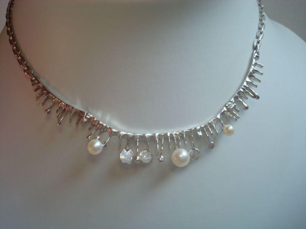 Klassisches Collier Kette Designer Schmuck 925 Silber Zuchtperlen Art  Nachlass