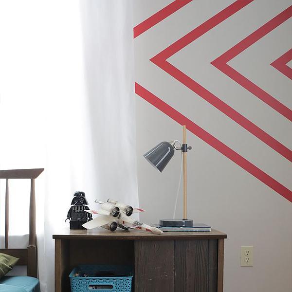 Slate Blue Diagonal Stripe Accent Wall: Gold Striped Walls, Striped